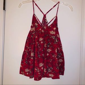 American eagle red floral strappy blouse
